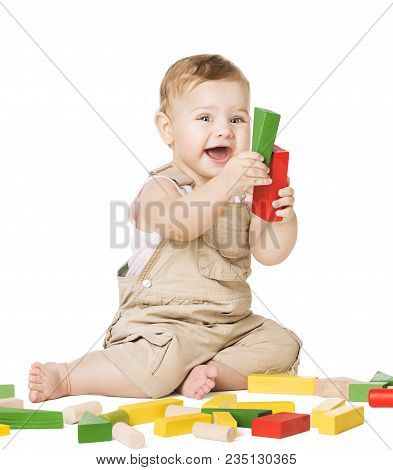 Baby Play Toys Blocks, Happy Infant Kid Playing Wooden Bricks, Child One Year Old Sitting On White B