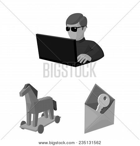 Hacker And Hacking Monochrome Icons In Set Collection For Design. Hacker And Equipment Vector Symbol