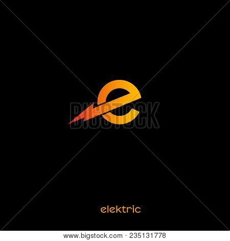 Electric Logo. E Monogram. Orange Letter With Lightning On A Dark Background.