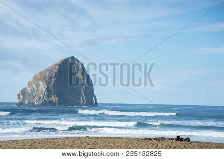 Haystack Rock And Ocean Beach On Central Oregon Coast