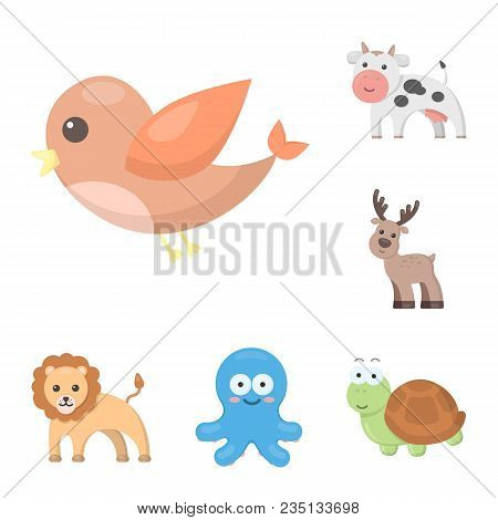 An Unrealistic Cartoon Animal Icons In Set Collection For Design. Toy Animals Vector Symbol Stock  I