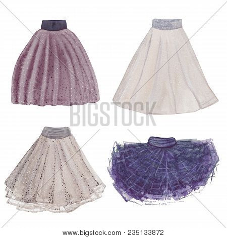 Skirt Collection. Watercolor Cloth Set. Hand Painted Various Skirts.