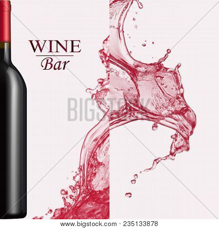 Advertising Wine Bar Page, Wine Presentation Brochure. Vector Illustration Of A Dark Bottle Of Red W