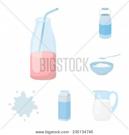 Milk Product Cartoon Icons In Set Collection For Design.milk And Food Vector Symbol Stock  Illustrat
