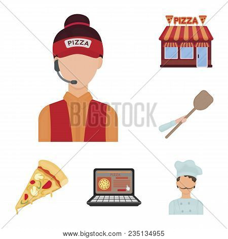Pizza And Pizzeria Cartoon Icons In Set Collection For Design. Staff And Equipment Vector Symbol Sto