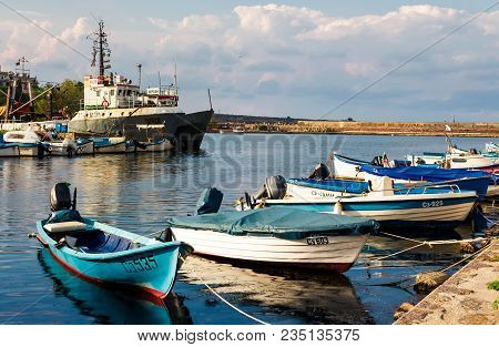 Sozopol - August 19: Fishing Boats At Sunset On August 19, 2015 In Sozopol, Bulgaria. Small Fishing