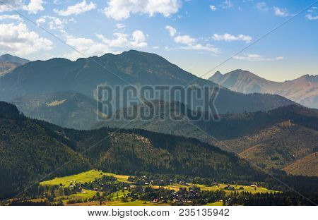 Village Zakopane In High Tatra Mountains. Beautiful Landscape In Summertime. Popular Tourist Destina