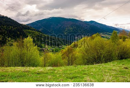 Countryside Of Carpathian Mountains In Springtime. Beautiful Nature Scenery On A Cloudy Day