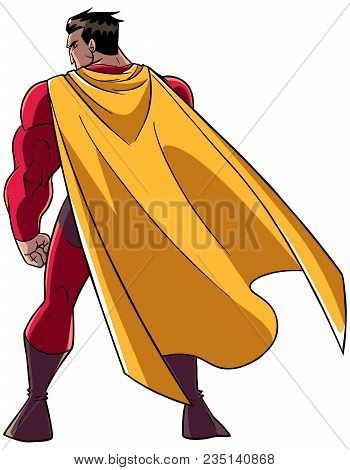 Full Length Rear View Of A Powerful Superhero With Yellow Cape Standing Ready For Action Against Whi
