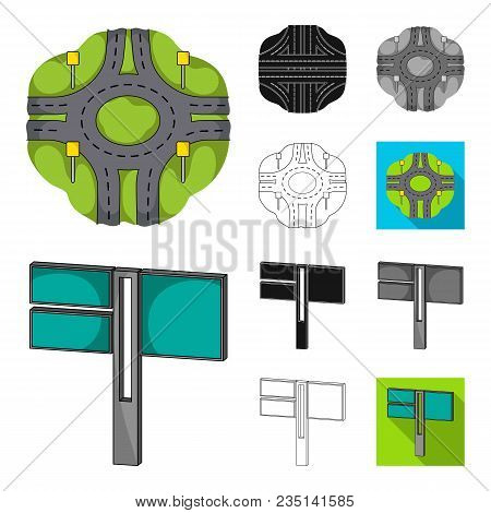 Road Junctions And Signs And Other  Icon In Cartoon, Black, Flat, Monochrome, Outline Style.pedestri