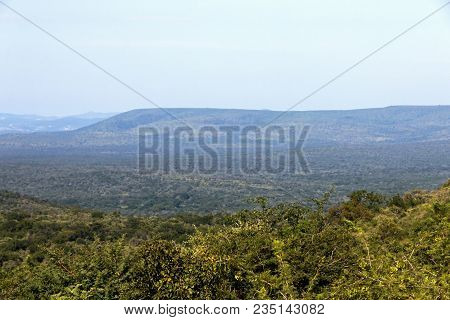 Rural Landscape With Misty Hills And Valleys Overcast Sky