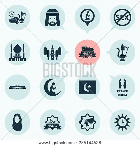 Religion Icons Set With Prayer, Azan, Scripture And Other Kerchief Elements. Isolated Vector Illustr