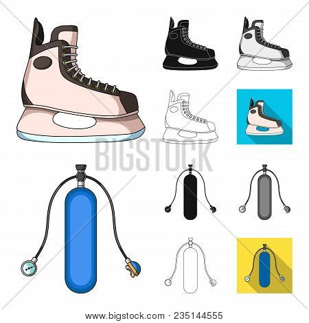 Extreme Sport Cartoon, Black, Flat, Monochrome, Outline Icons In Set Collection For Design.different