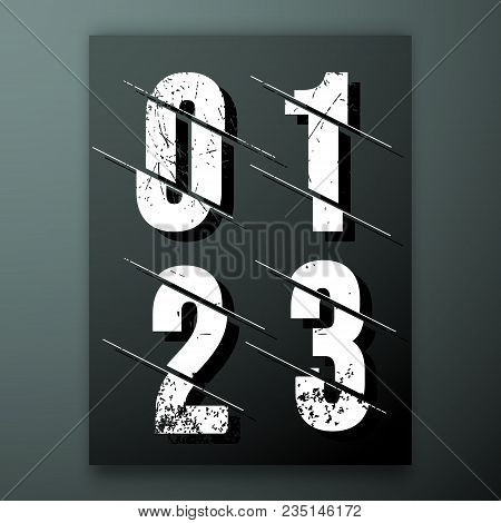 Glitch Number Font Template. Set Of Grunge Numbers 0, 1, 2, 3 Logo Or Icon. Vector Illustration