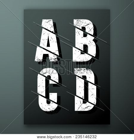 Glitch Letter Font Template. Set Of Grunge Letters A, B, C, D Logo Or Icon. Vector Illustration.