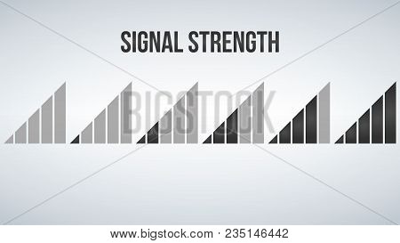 Mobile Phone Signal Strength Indicator Template. Wi-fi, Wireless Connection, Antenna Signal Strength