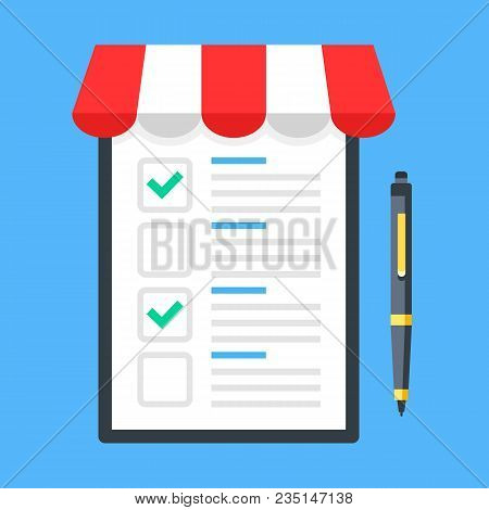 Shopping List. Clipboard With Storefront Awning And Pen. Checklist With Checkboxes And Green Check M