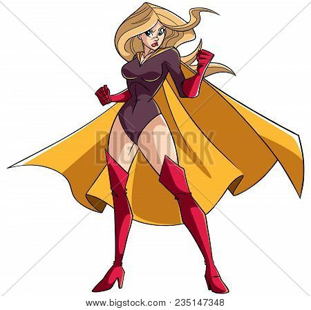 Full Length Illustration Of A Determined Super Heroine Ready For Battle Wearing Yellow Cape Isolated