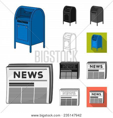 Mail And Postman Cartoon, Black, Flat, Monochrome, Outline Icons In Set Collection For Design. Mail