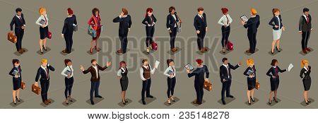 Businessmen People In Dark Suit, Isometric People In Dark Business Suit.