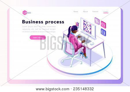 Office Tablet Concept, Isometric People At Office Working On A Tablet Display, Isometric Workplace C