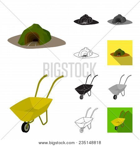 Mining Industry Cartoon, Black, Flat, Monochrome, Outline Icons In Set Collection For Design. Equipm