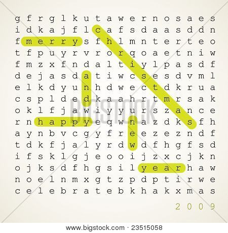 Christmas card - word search puzzle with highlighted compliment of the season