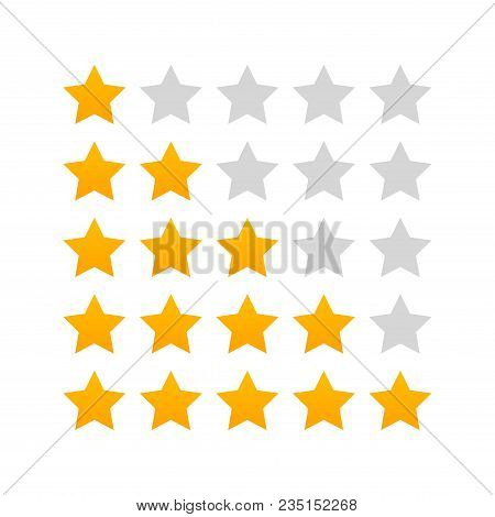5 Star Rating Icon Vector. Rate Vote Like Ranking Symbol.