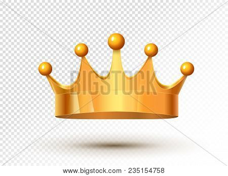 Golden King Crown Royal Luxury Isolated Medieval Monarch Treasure. Metal Gold Crown Authority.