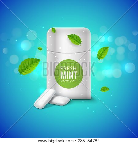 Vector Chewing Gum Package Box And Green Mint For Fresh Breath. Dental Health Chewing Gum Background