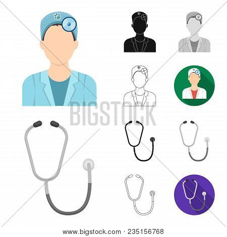 Veterinary Clinic Cartoon, Black, Flat, Monochrome, Outline Icons In Set Collection For Design. Trea