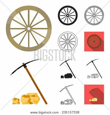 Attributes Of The Wild West Cartoon, Black, Flat, Monochrome, Outline Icons In Set Collection For De