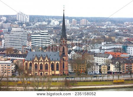 Frankfurt,Germany- March 17, 2018 - Aerial view of of Frankfurt city and historic church