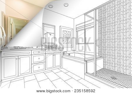 Master Bathroom Drawing Page Corner Flipping with Photo Behind.
