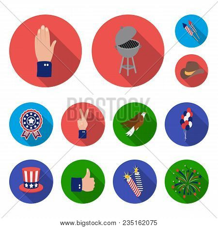 Day Of Patriot, Holiday Flat Icons In Set Collection For Design. American Tradition Vector Symbol St