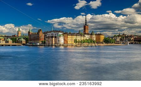 Stockholm, Sweden - August 21, 2017: Panoramic View Of Traditional Gothic Buildings In The Old Town,