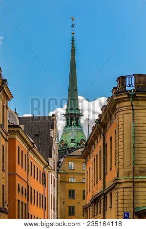 Traditional Gothic Buildings And German Church Spire In The Old Town Part Of Sodermalm Island In Sto