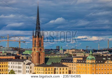 Traditional Gothic Buildings In The Old Town, Gamla Stan In And Riddarholmen Church, The Burial Chur