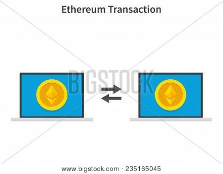 Ethereum Transaction. Concept Of Cryptocurrency Technology, Ethereum Exchange, Mobile Banking. Hand
