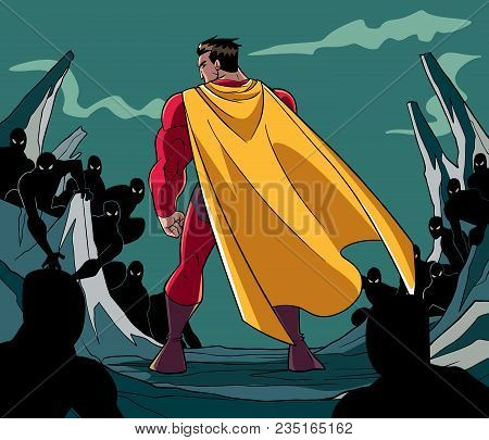 Rear View Full Length Illustration Of A Cartoon Brave Superhero Standing Alone In Confrontation With
