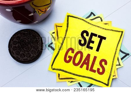 Writing Note Showing  Set Goals. Business Photo Showcasing Target Planning Vision Dreams Goal Idea A