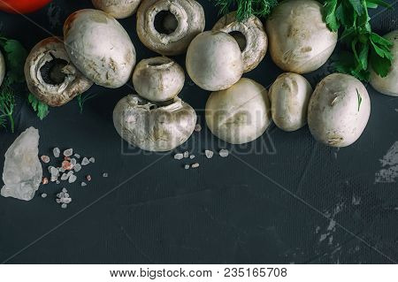 Fresh Mushrooms And Vegetables With Herbs. Wooden Background, Close-up. Copy Spase