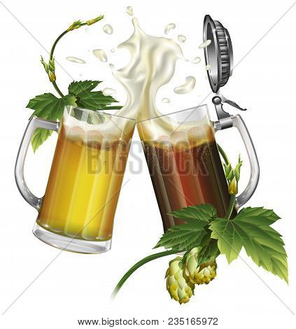 Two Mugs With Ale, Light Or Dark Beer, Hops. Vector