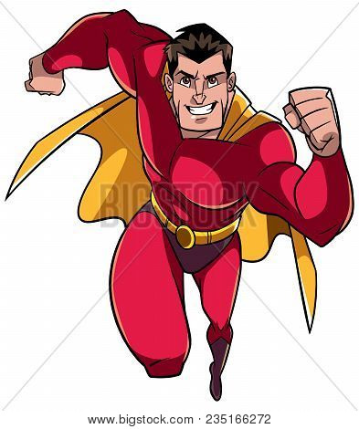 Full Length Front View Of A Powerful And Muscular Superhero Running Fast During Courageous Mission I