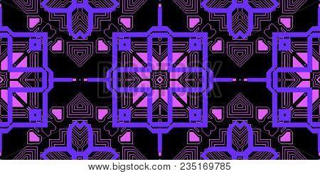 Purple Lilac Seamless Techno Lines Pattern. Futuristic Geometry Background. Laser Technical Design T