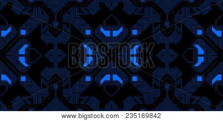 Dark Blue Neon Seamless Techno Lines Pattern. Futuristic Geometry Background. Laser Technical Design