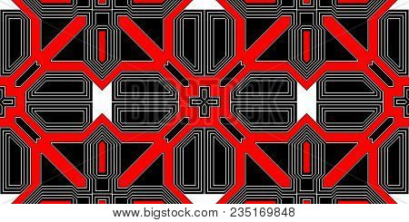 Red Black Seamless Techno Lines Pattern. Futuristic Geometry Background. Laser Technical Design Text