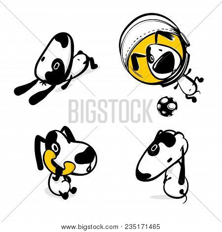 Cute Dog Calling Phone Sticker Set. Monochrome Puppy Collection Design. Simple Black White Sketch Ve