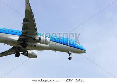 Amsterdam The Netherlands - April, 7th 2018: Ph-exg Klm Cityhopper Embraer Erj-175 Approaching Schip