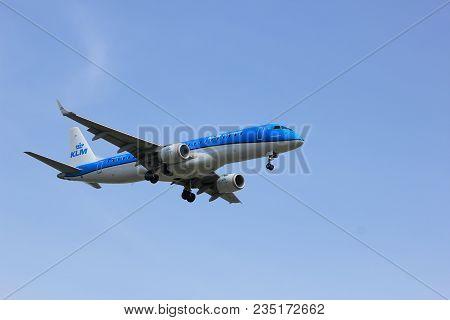 Amsterdam The Netherlands - April, 7th 2018: Ph-ezv Klm Cityhopper Embraer Erj-190  Approaching Schi